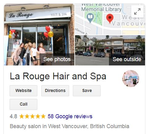 La Rouge Beauty Salon Google Review